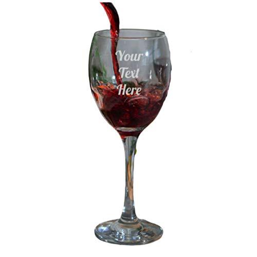 Be-Creative Copa de vino blanco o rojo grabado personalizable, regalo de cristalería grabado – texto liso