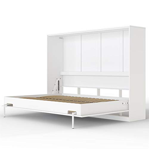 SMARTBett Basic Cama abatible Cama Plegable Cama de Pared (Blanco, 140 x 200 cm Horizontal)