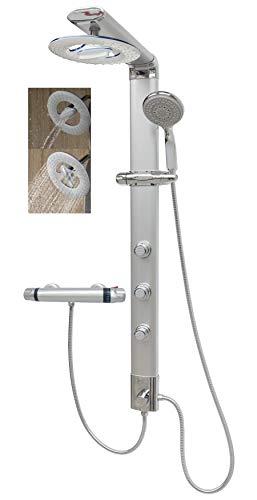 Duschpaneel mit Thermostat Duschsystem Regendusche Silber Massagedüsen Handbrause Shower Panel