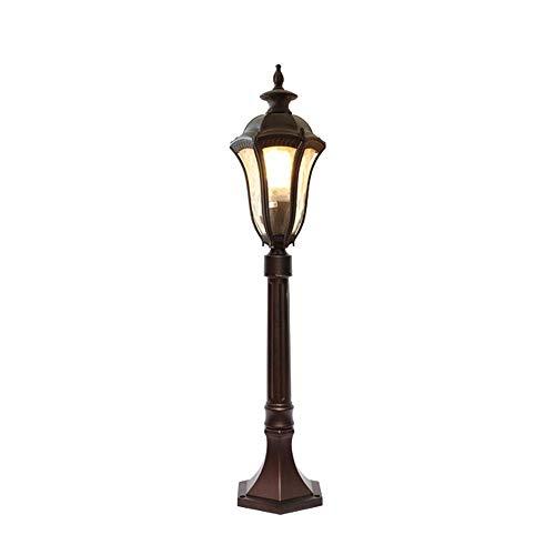 KMYX 80 cm hoge polo-tafellamp buitenkant antiek waterdicht IP55 post lantaarn van aluminium gegoten bruin gazonlamp voor terras hek landbouw veranda deur