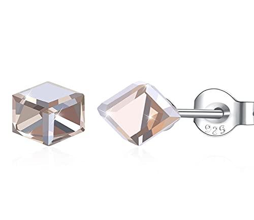 Adornado con cristales de plata de ley 925, pendientes de botón de color cuadrado, joyería fina para mujer, regalo de fiesta