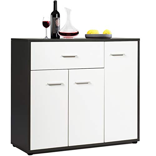 """Giantex Buffet Sideboard, Kitchen Storage Cabinet, Console Table Cupboard with Drawer, Adjustable Shelf, Tableware Organizer, Entryway and Dining Room Furniture 34.5""""LX12""""WX 27.5""""H (White & Brown)"""