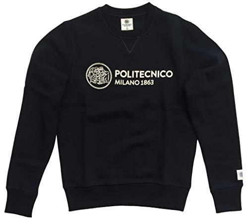 Politecnico Milano 1863, Felpa Linea ISTITUZIONALE Girocollo - Uomo (Nero, M)