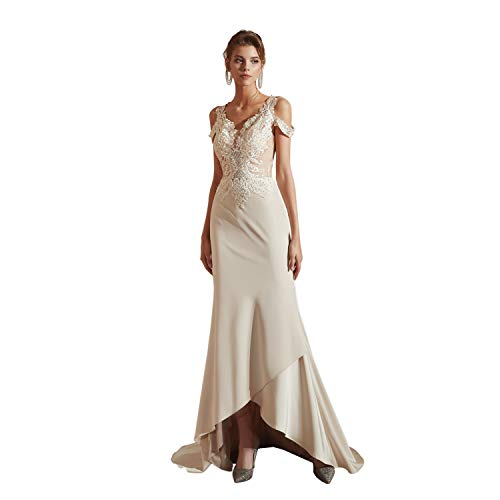 Leyidress Mermaid Beach Wedding Dresses High Low Trumpet Evening Dress Fishtail Vintage Off Shoulder Party Dress 10 Champagne