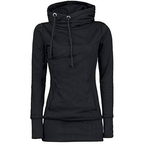 sweat à capuche à manches longues Femmes, Toamen Blouse à manches longues Sweat-shirt Mode Couleur unie L'automne Hiver (S, Noir)