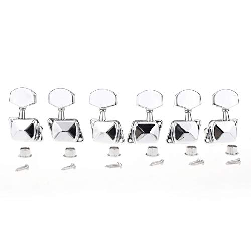 Musiclily Pro 3+3 Semi-closed Guitar Tuners String Tuning Pegs Keys Machine Heads Set for for Acoustic or Electric Guitar,Chrome