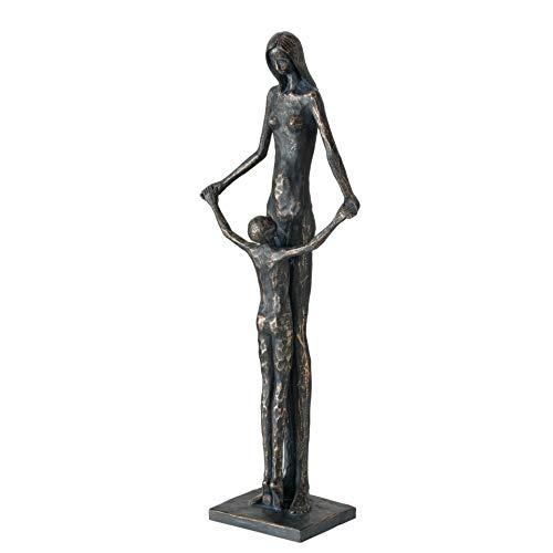CasaJame Figura decorativa moderna de mujer con niño (60 cm de altura), color gris envejecido
