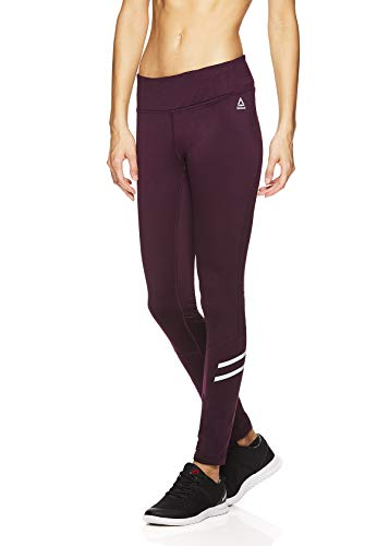 Reebok Women's Leggings Full Length Performance Compression Pants - Athletic Workout Leggings for Women for Gym & Sports - Formula Potent Purple, X-Small
