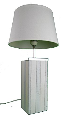 muschel-sammler-shop Tischlampe/Holz mit Lampenschirm/maritimer Dekor/Segellampe/Sylt/Nordsee/Strand/Bettlampe/Badezimmerlampe