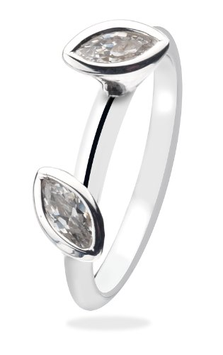 Virtue Silver StackableVRS3025 2 Marquise Stone Clear Cubic Zirconia Virtue Ring - Size P