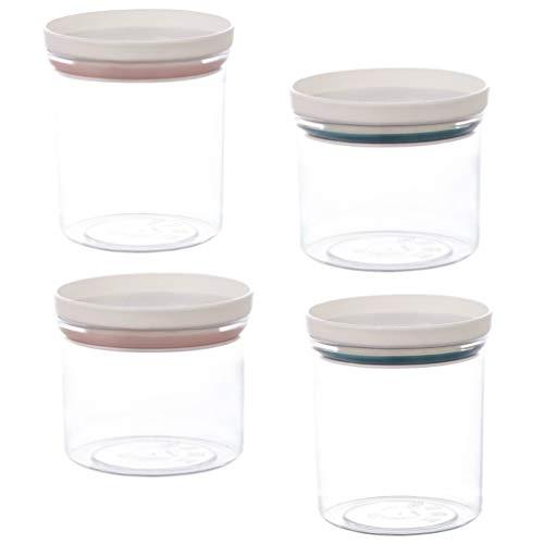 Hemoton 4 Piezas de Plástico Hermético Recipientes de Almacenamiento de Alimentos Frascos con Tapas Frasco de Plástico para Servir Dulces Galletas Arroz Comida S