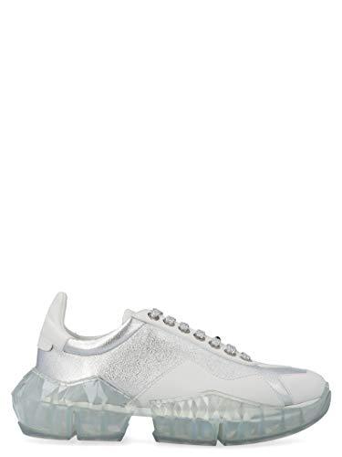 JIMMY CHOO Luxury Fashion Damen DIAMONDFLAKSILVERWHITE Silber Leder Sneakers | Jahreszeit Permanent