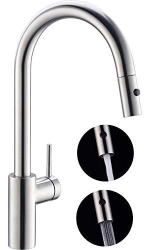 JUSTOPIN Luca Wasserhahn küche ausziehbar, 360° drehbar Küchenarmatur ausziehbar mit 2 strahlarten Brause, Einhebel Mischbatterie Küche, Edelstahl gebürstet ZPEUKT1BS