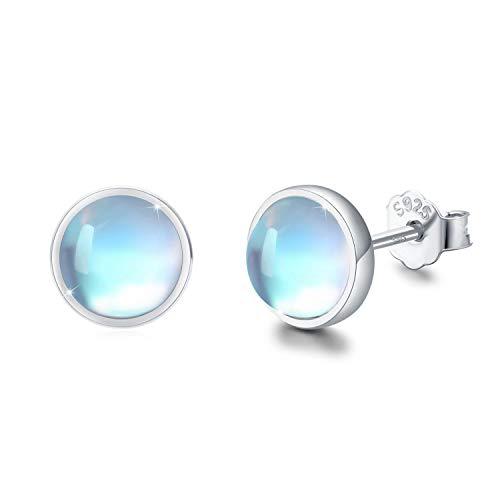 Mondstein Ohrringe 925 Sterling Silber Regenbogen Runde Mondstein Ohrstecker für Mädchen Hypoallergene Ohrringe für Damen Kinder
