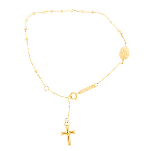 Pulsera con colgante de cruz y medalla virgen milagrosa, oro amarillo (375/1000)