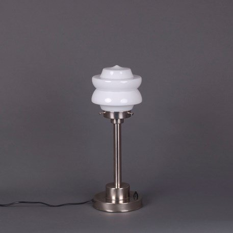 Art Deco Table Lamp Small Top - White Glass and Matte Nickel Angular Fixture