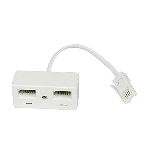 Mixed-Gadgets, Cavo splitter da una presa telefonica BT a due prese BT del Regno Unito, colore: bianco 1 to 2 Splitter