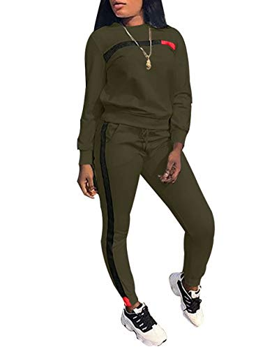 Women Long Sleeve Tops Skinny Pants Loungewear Tracksuit 2 Piece Set Green 2XL