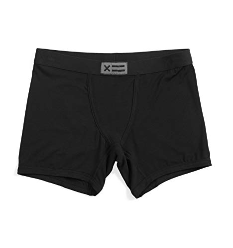 TomboyX 4.5' Boy Shorts, Micromodal Form-Fitting Boxer Briefs Underwear, Breathable All Day Comfort- Small/Micromodal Black