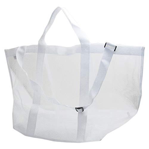 [MIKA&MAYA] ランドリーバッグ 洗濯物入れ 洗濯かご トートバッグ ショルダー (ホワイト)