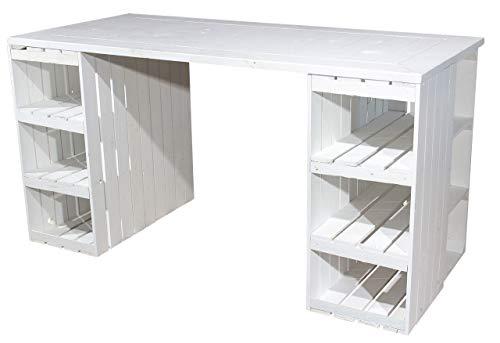 Schreibtisch mit weißen Holzkisten & weißer Holzplatte 150x70x75cm - Weinkisten Obstkisten Apfelkisten Holz Kiste Retro Vintage Geflammt Flambiert