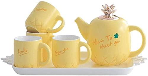 lkpqdwqz Juego de Tazas de café de cerámica Creativo Juego de hervidor frío en Forma de piña Juego de té para el hogar Taza Linda Vajilla de Agua de cerámica Resistente al Calor con Bandeja