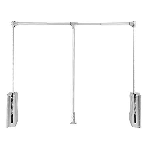 Nisorpa Pull Down Wardrobe Rail Lift Collapsible Closet Rod Aluminium Retractable Wardrobe Lift Hanger Organizer Storage System Soft Return Space Saving 35-48inch Weight Capacity 20KG/45lbs