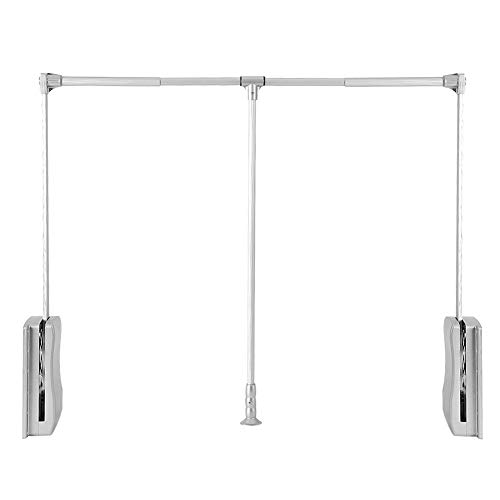 Nisorpa Pull Down Wardrobe Rail Lift Collapsible Closet Rod Aluminium Retractable Wardrobe Lift Hanger Organizer Storage System Soft Return Space Saving 35-48inch Weight Capacity 20KG/45lbs