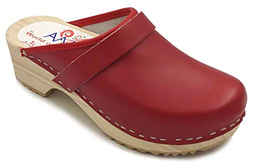 AM-Toffeln 100 Swedish Wooden Clogs in Red Leather - Size 39