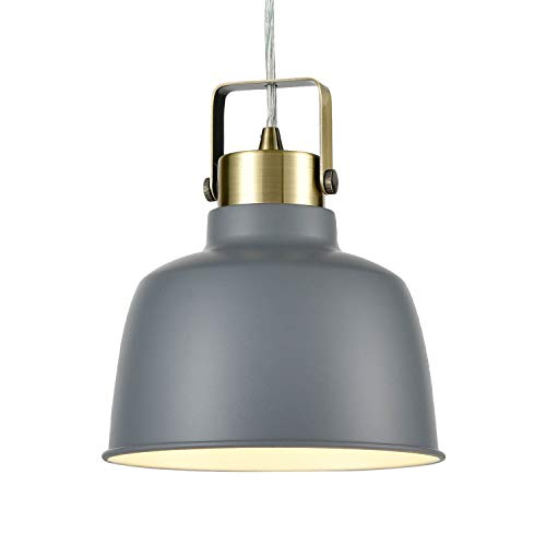 Light Society Mercer Mini Pendant Light, Gray Shade with Brushed Brass Finish, Modern Industrial Farmhouse Lighting Fixture (LS-C169-GRY)