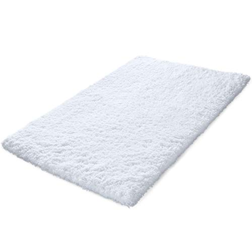 KMAT 32x47 Inch Large Luxury White Bath Mat Soft Shaggy Bathroom Rugs Non-Slip Rubber Shower Rugs Microfiber Washable Bath Rug for Floor Bathroom Bedroom Living Room