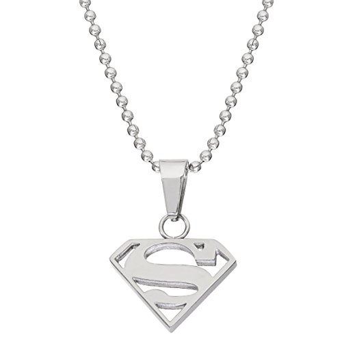 DC Comics Jewelry Superman, Stainless Steel Cutout Logo Pendant, 16' Ball Chain