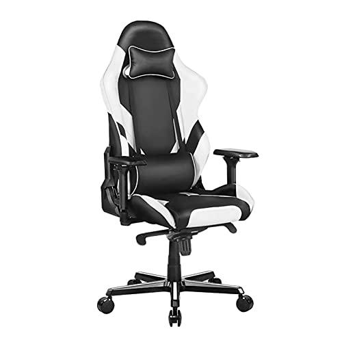YQX-Gaming Chair, Racing Office Computer Chair, Verstellbarer Drehbarer Rocker Recliner Ledersessel,Weiß