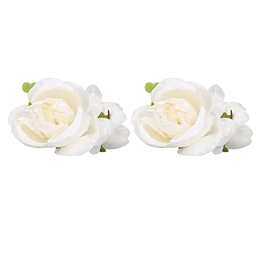 Flores de boda, 2 piezas Flor de muñeca Decoraciones de boda Diseño de pulsera Ramillete Flor decorativa para novia para baile de graduación(blanco)