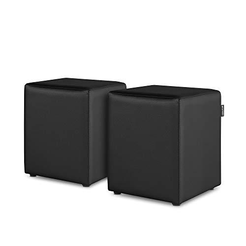 HAPPERS Pack 2 Puff Cubo Polipiel para Salón o Dormitorio Negro