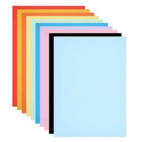 FOCCTS 50 Hojas Papel Coloreado,Origami de Bricolaje,Conjunto de Origami,Papel Impresión Color,Origami para Niños,para Pintar,Imprimir,Corte de Papel,10 Colores,42 * 29.7cm,A3
