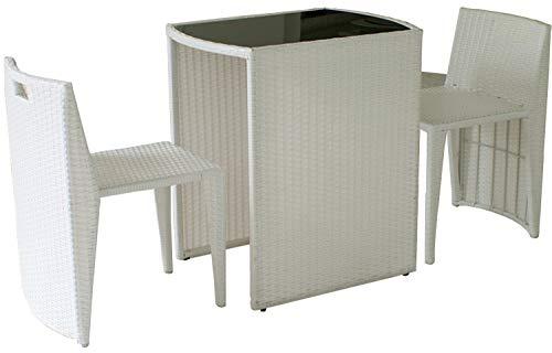 ガーデンテーブル 3点セット 完成品 チェア ガラス天板 ラタン調 幅66cmコンパクト アジャスター付き アウトドア ガーデニング 庭 ベランダ 屋外 玄関 カフェ サロン おしゃれ 北欧 (ホワイト)