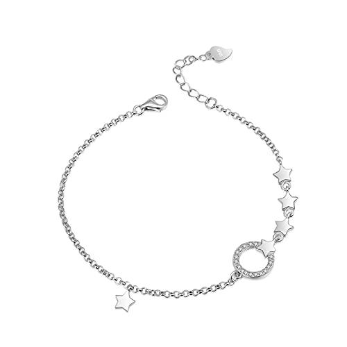 Braclets - Pulsera de plata de ley S925 con incrustaciones de circonita y estrella