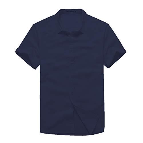 Camisas de Manga Corta para Hombre Camisas de Manga Corta Casuales de Color sólido Simple de Verano Camisas de Manga Corta Delgadas M
