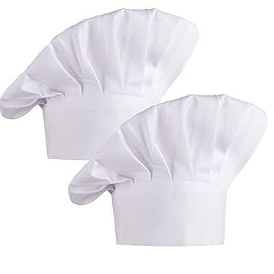Kbnian 2pcs Chef Hat Adjustable Kitchen Chef Cap White Uniform Baker Cooking Hat