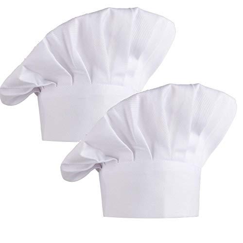 Kbnian Gorro Cocinero, 2 Piezas de Gorro de Chef con Goma Elástica Sombrero de Chef de Algodón Sombrero de Cocinero Gorro de Panadero Gorro para Cocina Restaurante Hotel, Blanco