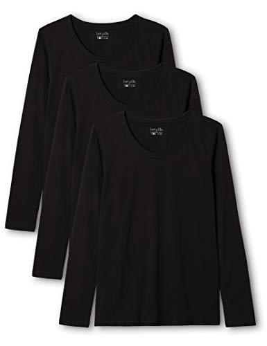 Berydale Camiseta de manga larga de mujer con cuello redondo, pack de 3, Negro, M