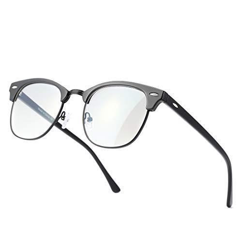Kimorn Gafas con Filtro de luz Azul para Oficinista Gafas Medio Marco Anti-Luz Azul para Ancla de internet para Ordenador Juegos etc Hombre y Mujer KS052 (Marco negro brillante/Lente de luz anti-azul)
