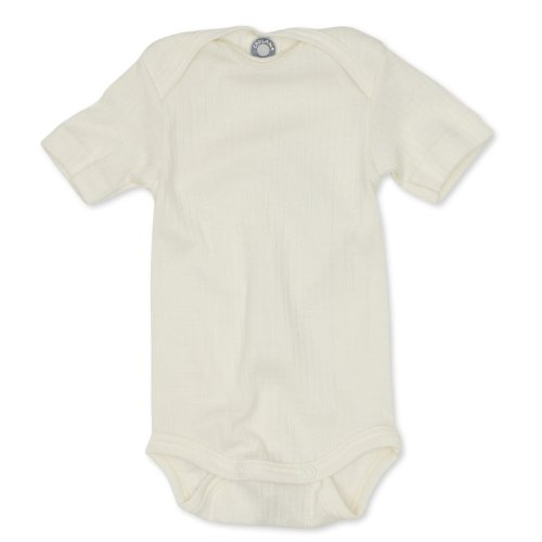 Cosilana Cosilana kurzarm Baby Body, Größe 50/56, Farbe Natur, Spezial Qualität 45% kbA Baumwolle, 35% kbT Wolle, 20% Seide