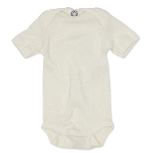 Cosilana kurzarm Baby Body, Größe 62/68, Farbe Natur, Spezial Qualität 45% kbA Baumwolle, 35% kbT Wolle, 20% Seide