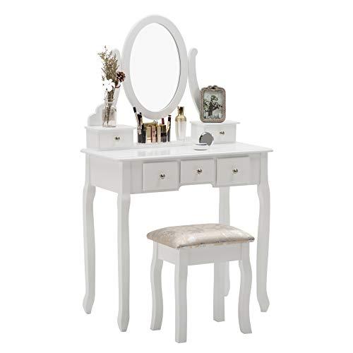 Artist hand Schminktisch Weiß, Kosmetiktisch mit 5 Schubladen, Friertisch Frisierkommode mit Oval Spiegel und Hocker