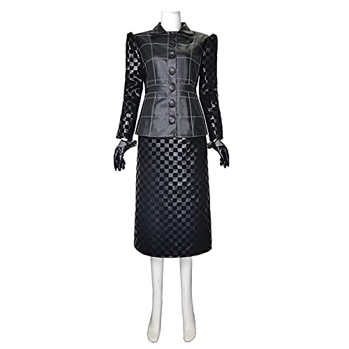 Película Cruella Disfraz de Cosplay Abrigo de Cuero Falda Chaqueta Negra Ajustada a Cuadros Trajes de Vestir Elegantes para Mujer para Adultos