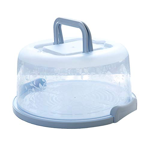 8 Inch Portable Round Cake Carrier with Handle Pie Saver Cupcake Container Translucent Dome Small for Transporting Cakes, Cupcakes, Cookies, Pies, or Other Desserts (Blue)