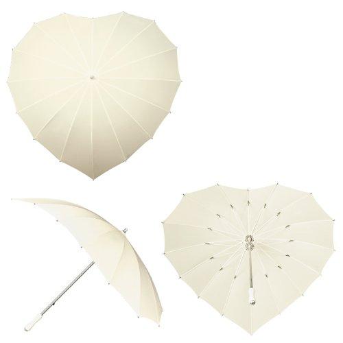 Impliva Herz Regenschirm mit UV-Schutz - gebrochenes Weiß