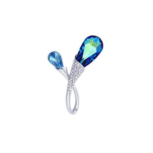 ZWSHOP Broche para mujer, de cristal colorido, elegante, caja de regalo, 4,5 x 3,5 cm (color: azul cielo)